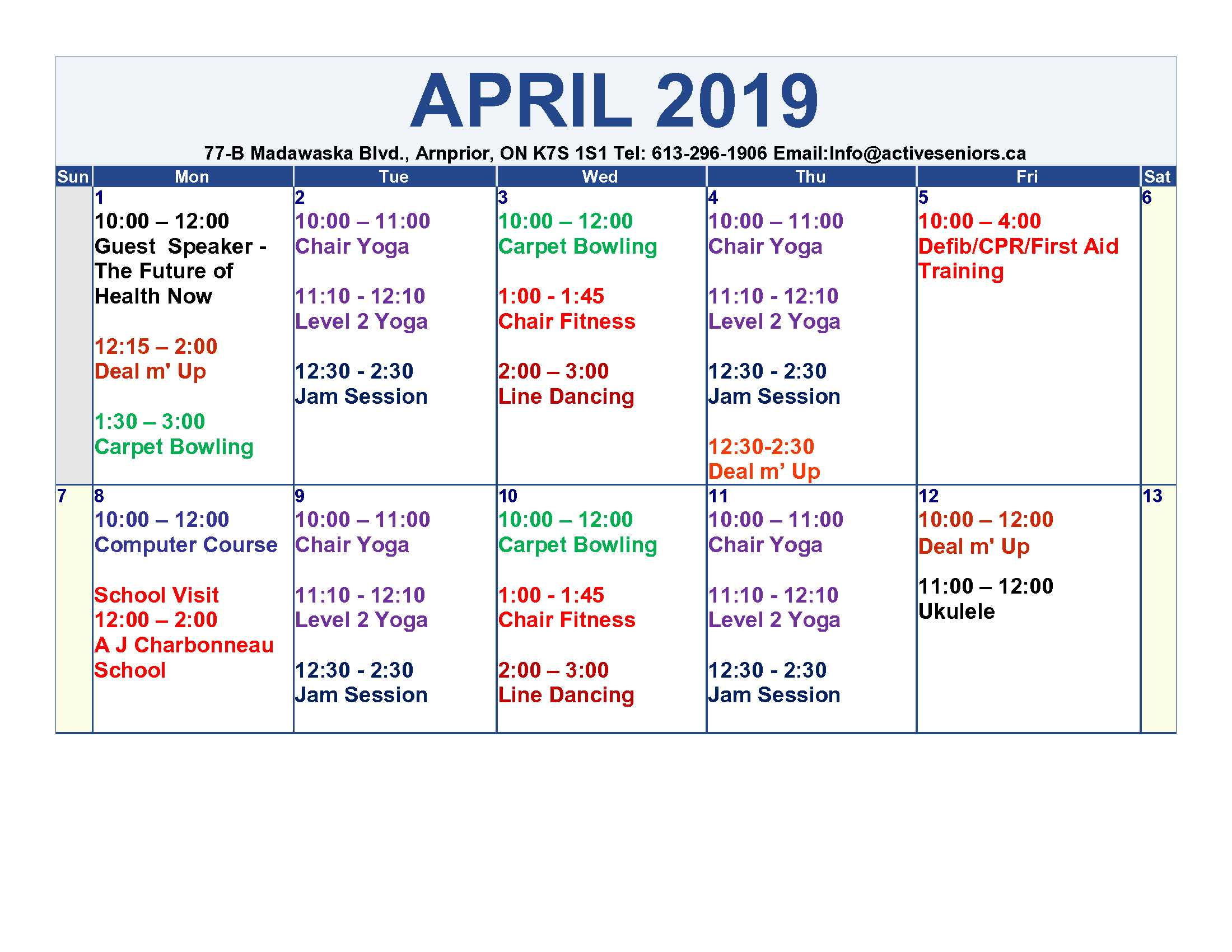 Salc April 2019 Calendar The Township Of Mcnab Braeside