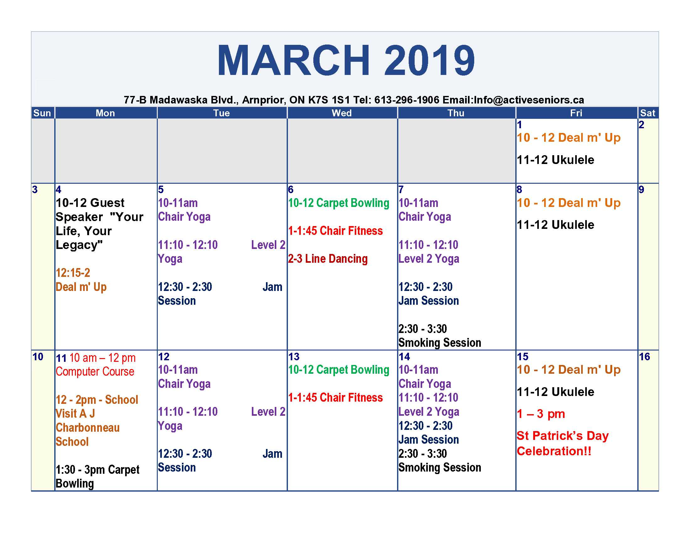 Salc March 2019 Calendar The Township Of Mcnab Braeside